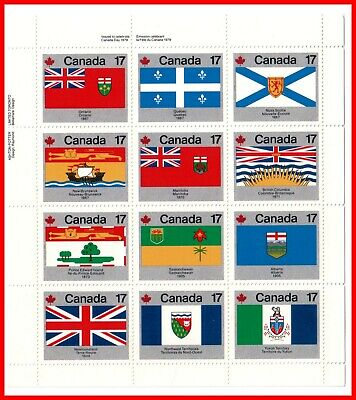 Canada Stamp Mint Set of Four Full Panes  #832a - Provincial & Territorial Flags