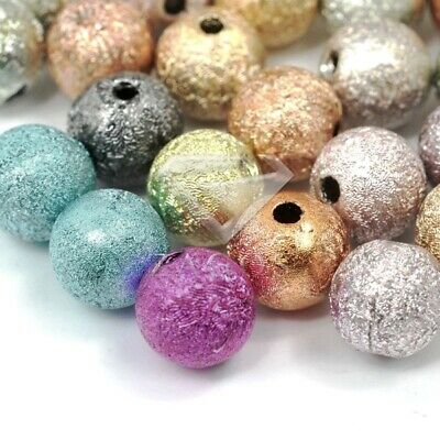 40pcs Mixed Color Acrylic Round Stardust Spacer Beads Finding 8mm DIY Wholesale