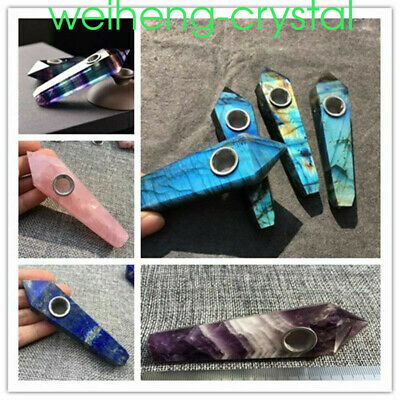 wholesale ! Natural crystal smoking pipe quartz wand point hole healing