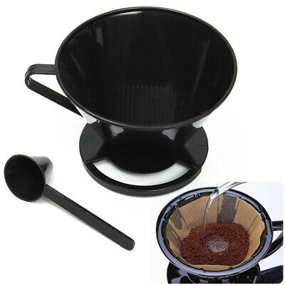 Plastic Cone Coffee Filter Maker Cafetiere Cup Dripper Tool+ Measuring Spoon NEW