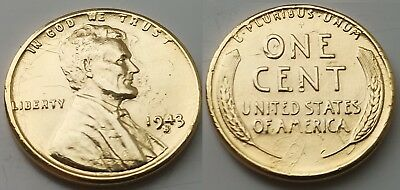 Gold 1943 USA Mint During World War II President Lincoln I Wheat Cent Coin RARE