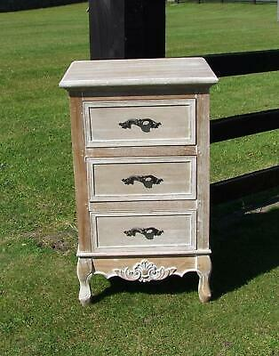 French Louis Xv Style Shabby Chic Hardwood 3 Drawer Bedside Chest (Cy16817)