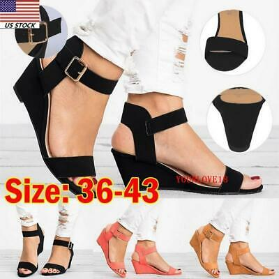 a40fcfd1424 WOMENS ANKLE STRAP Buckle Sandals Ladies Wedge Heel Summer Party ...