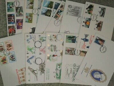 11 Commemorative First Day covers. GB Stamps. 1970's/80's/90's. Stuart .Gd Cond