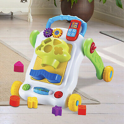 Kids Baby Activity Walker Shape Sorter Toy First Steps Learn Push Along Stand Up