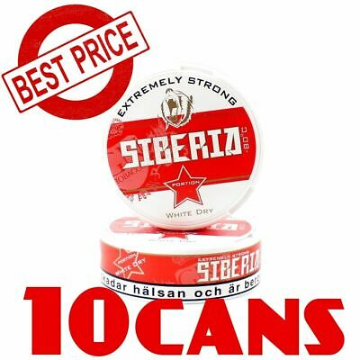 10 Cans of Snus Siberia -80°C EXTREMELY STRONG SNUS Best White Dry Chewing Bags