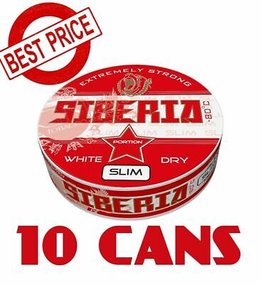 10 Cans of Snus Siberia Slim -80°C EXTREMELY STRONG SNUS White Dry Chewing Bags