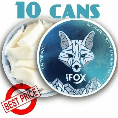 NEW! White Fox 10 Cans Slim Ice Cool Mint Flavor STRONG SNUS ALL White Snuf New