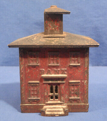 """Vtg Antique Red Painted Bank Building Cast Iron Still Bank As Is for Parts 5.5"""""""