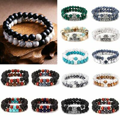 2pcs Natural Stone Owl Balance Beaded Bracelet Lava Yoga Reiki Prayer Women Men
