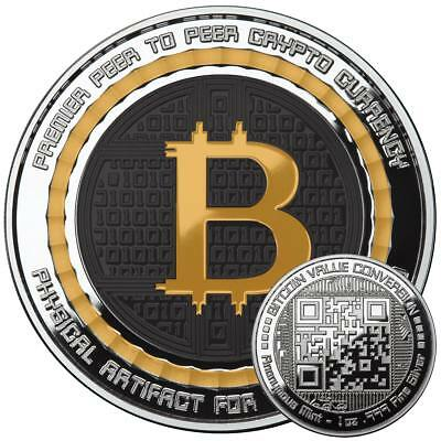 Bitcoin Color 1 Oz .999 Silver Bitcoin Qr Code Value Conversion Commemorative