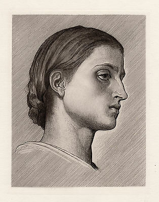 """Charming 1800s Frederic LEIGHTON Etching """"Young Anacapri Girl"""" Framed SIGNED COA"""