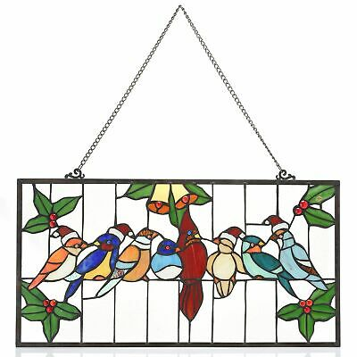 """Tiffany-Style 13.5"""" Birds on a Wire Santa Edition Stained Glass Window Panel"""
