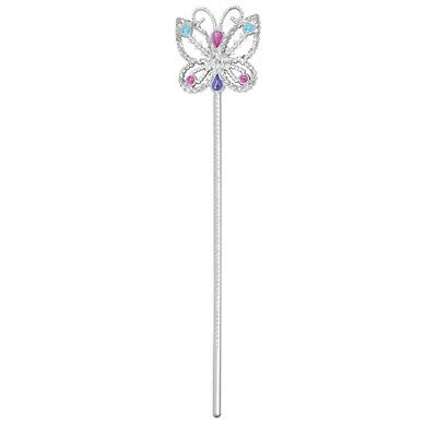 Kids Sparkle Fairy Godmother Princess Wand Silver Sequin Fancy Dress Toy Prop