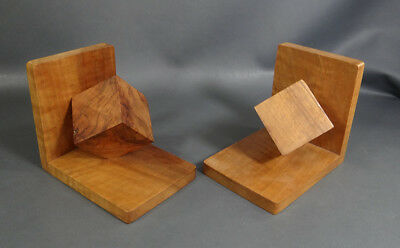Antique Art Deco Walnut Wood Wooden Treen Geometric Cube Bookends Book Ends Pair
