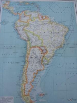 MAP c1900 SOUTH AMERICA COMMERCIAL CHART BARTHOLOMEW ATLAS COLOUR LITHOGRAPH