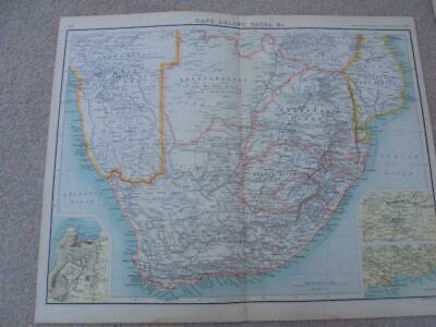 MAP c1900 SOUTH AFRICA CAPE COLONY NATAL BARTHOLOMEW ATLAS COLOUR LITHOGRAPH