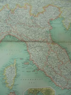 MAP c1900 NORTHERN & CENTRAL ITALY BARTHOLOMEW ATLAS COLOUR LITHOGRAPH