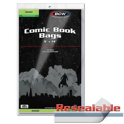 1 Pack of 100 BCW Brand Resealable Bags Graded Comic Book storage 9 x 14""