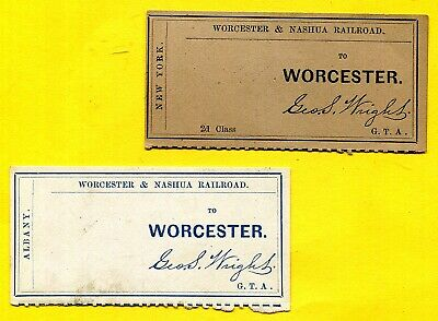 WORCESTER & NASHUA RAILROAD via ALBANY & 2nd Class NEW YORK ~ Pair TRAIN TICKETS