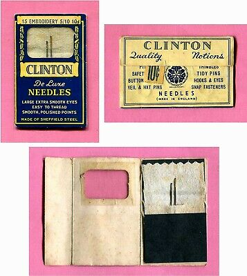 CLINTON De LUXE NEEDLES Made of ENGLAND SHEFFIELD STEEL ~ SCOVILL WATERBURY, CT