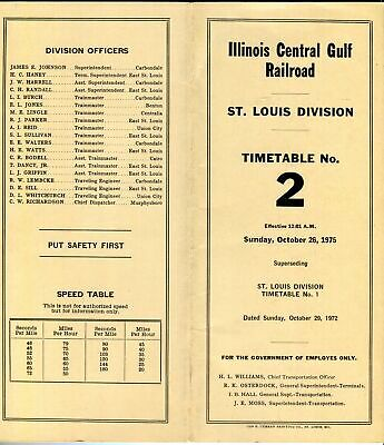 1975 ILLINOIS CENTRAL GULF RAILROAD ST. LOUIS DIVISION EMPLOYEE TIMETABLE No. 3