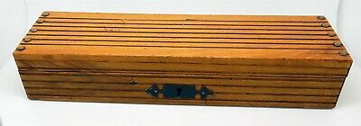 Antique English Victorian Brass Trimmed Wood Pencil Box