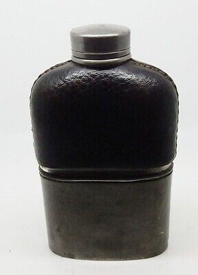 Small Antique English Black Leather Clad Metal Flask with Cup