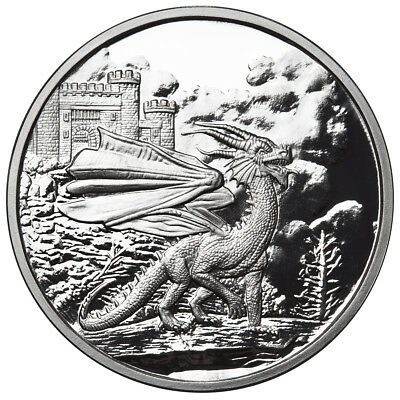 """1 Oz Silver Coin Celtic Lore """"Red Welsh Dragon Third Release #Coa Anonymous Mint"""