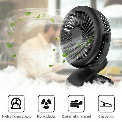 Clip-on Mini USB Desk Fan Summer Small 360° Air Cooler Rechargeable Table-Top UK