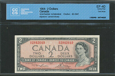1954 $2 TEST NOTE Bank of Canada. BC-38dT. S/R 2842649 Lawson-Bouey. CCCS EF-40