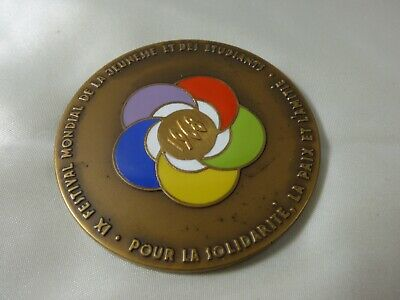 1968 Sofia Bulgaria Worlds Festival of Youth & Students Bronze Enamel medal coin