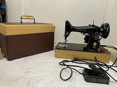 Vintage 1956 Singer Electric Portable Sewing Machine 99- AM492699 W/ Manual