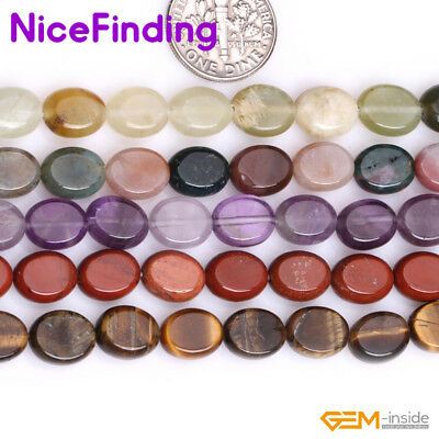 """8x10mm Natural Gemstone Oval Stone Beads For Jewelry Making 15"""" Assorted Stone"""