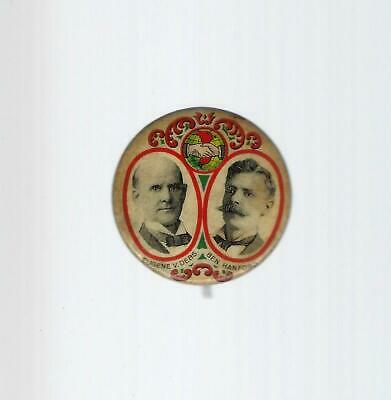 1904 Socialist Debs & Hanford Jugate Picture Campaign Button