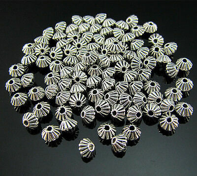 Jewelry tip bead Tibetan silver Crafts 100PCS spacer Pendant FREE bead Rondelle