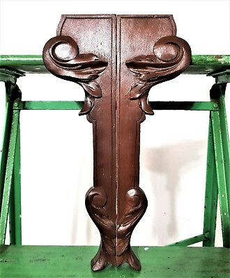 Pair shelf corbel bracket Antique french wooden scroll leaf salvaged furniture