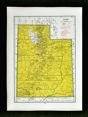 1942 Hammond Railroad Map Utah Salt Lake City Brigham Ogden Provo Moab Logan RR
