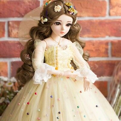 BJD 1/3 Doll Girl Makeup + Eyes + Wigs + Clothes Female Silicone Xmas Toys Gifts