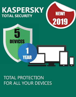 KASPERSKY TOTAL SECURITY 2019 5 DISPOSITIFS PC ANTIVIRUS 1 AN Tous les pays