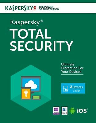 Kaspersky Total Security 2019-2020 3 Pc Devices 1 Year Antivirus