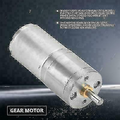25mm DC12V 25GA-370 Gear Motor with Metal Gear low Speed 5RPM~1000RPM For DIY ly