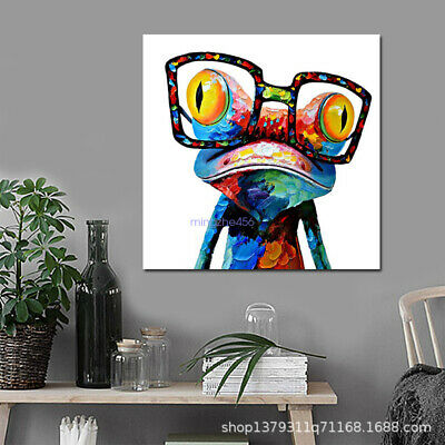 60X60CM Canvas Oil Painting Poster Print Photo Color Glasses Frog Home Art Wall