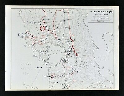 West Point WWII Map War with Japan Philippines Battle of Manila Luzon March 1945