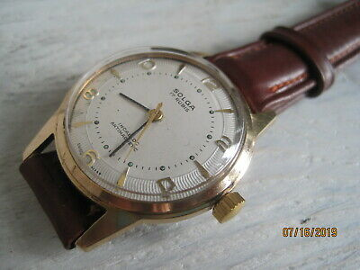 Vintage 50's SOLGA Deco Style Swiss Made Gold Plated Gents Mechanical Watch.