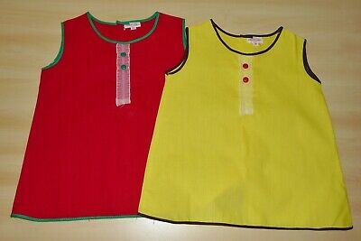 2 PACK OF VINTAGE 1970's UNWORN GIRLS RED & YELLOW A-LINE DRESSES AGE 12 MONTHS