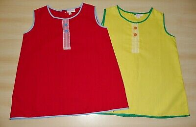 2 PACK OF VINTAGE 1970's UNWORN GIRLS RED & YELLOW A-LINE DRESSES AGE 2 YEARS