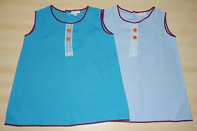 2 PACK OF VINTAGE 1970's UNWORN GIRLS ASSORTED BLUE A-LINE DRESSES AGE 2 YEARS