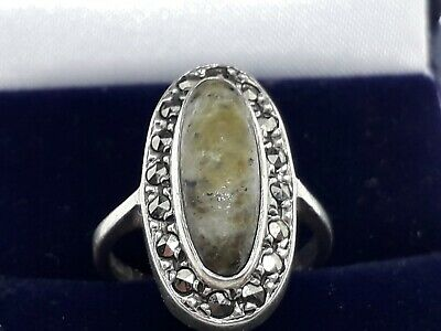 Vintage solid silver connemara marble  and marcasites ring .. size H1/2