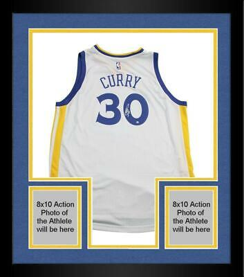 Framed Stephen Curry Golden State Warriors Signed White Adidas Swingman Jersey
